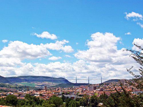 Millau viaduct and city