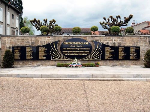 Memorial slab in new village of Oradour-sur-Glane