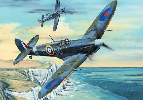Saint-Clair-sur-l'Elle - Wing Commander General František Peřina 's Spitfire Mk VB defeating a FW-190 A in 1942