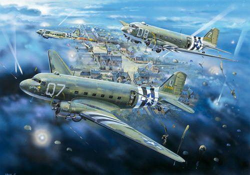 Dakotas-above-saint-Clair-sur-l'Elle-Normandy-WWII