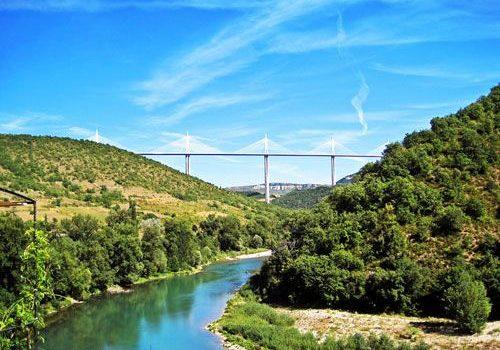 Millau viaduct seen from Peyre village