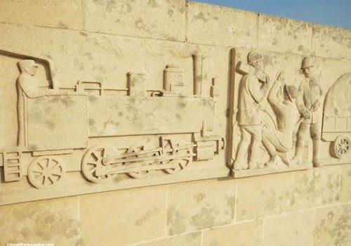Sacred Way - Voie Sacree Memorial - - Frieze depicting Locomotive and workmen- Fireze depicting Locomotive and workmen